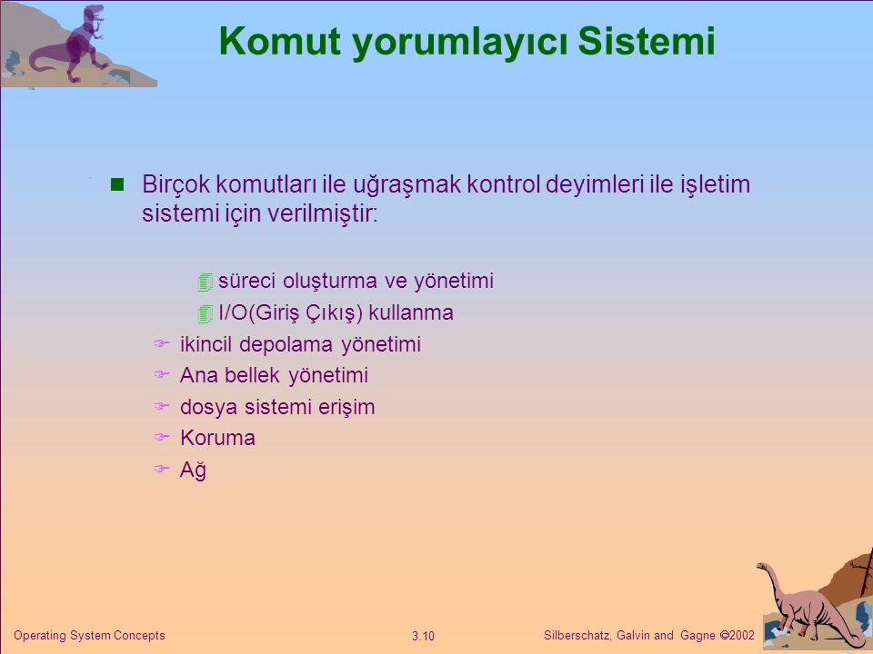 Silberschatz, Galvin and Gagne  2002 3.10 Operating System Concepts Komut yorumlayıcı Sistemi Birçok komutları ile uğraşmak kontrol deyimleri ile işletim sistemi için verilmiştir:  süreci oluşturma ve yönetimi  I/O(Giriş Çıkış) kullanma  ikincil depolama yönetimi  Ana bellek yönetimi  dosya sistemi erişim  Koruma  Ağ