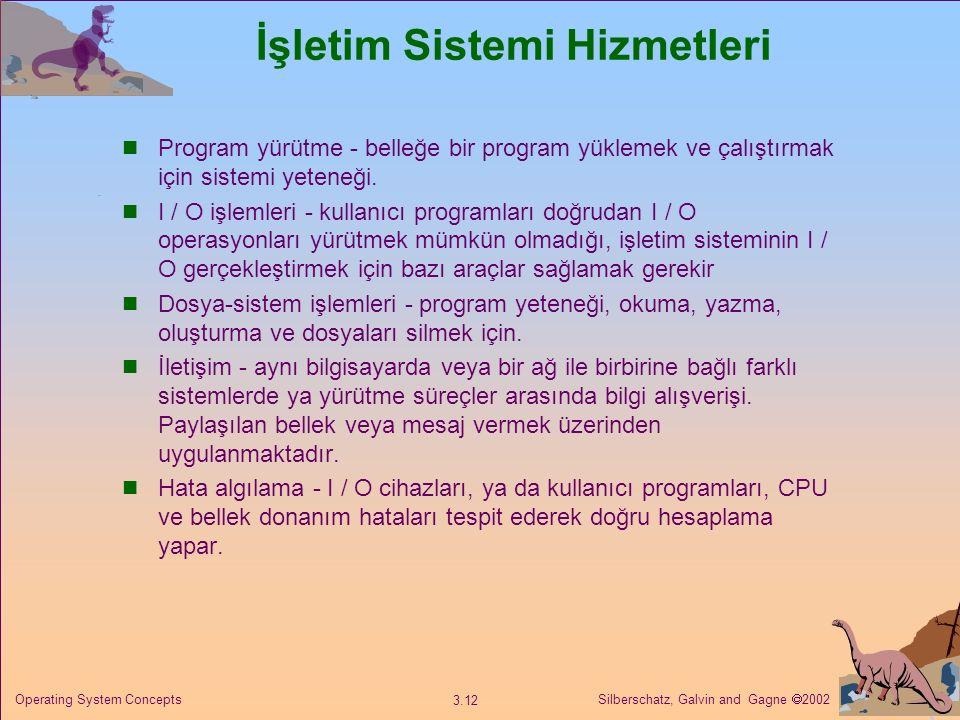Silberschatz, Galvin and Gagne  2002 3.12 Operating System Concepts İşletim Sistemi Hizmetleri Program yürütme - belleğe bir program yüklemek ve çalıştırmak için sistemi yeteneği.