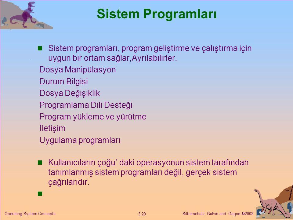 Silberschatz, Galvin and Gagne  2002 3.20 Operating System Concepts Sistem Programları Sistem programları, program geliştirme ve çalıştırma için uygun bir ortam sağlar,Ayrılabilirler.