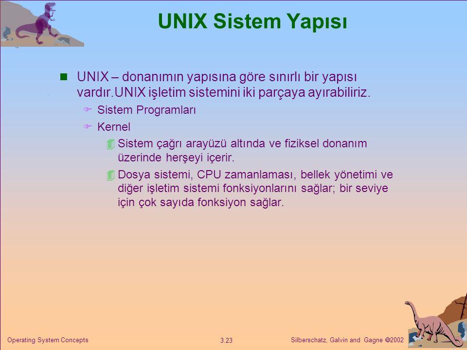 Silberschatz, Galvin and Gagne  2002 3.23 Operating System Concepts UNIX Sistem Yapısı UNIX – donanımın yapısına göre sınırlı bir yapısı vardır.UNIX işletim sistemini iki parçaya ayırabiliriz.
