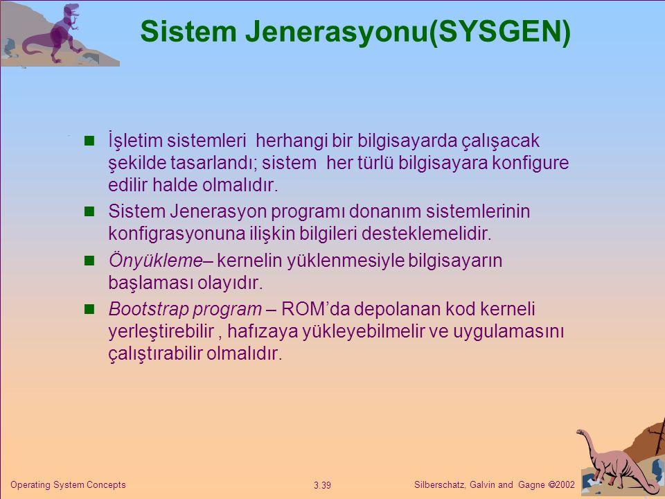 Silberschatz, Galvin and Gagne  2002 3.39 Operating System Concepts Sistem Jenerasyonu(SYSGEN) İşletim sistemleri herhangi bir bilgisayarda çalışacak şekilde tasarlandı; sistem her türlü bilgisayara konfigure edilir halde olmalıdır.