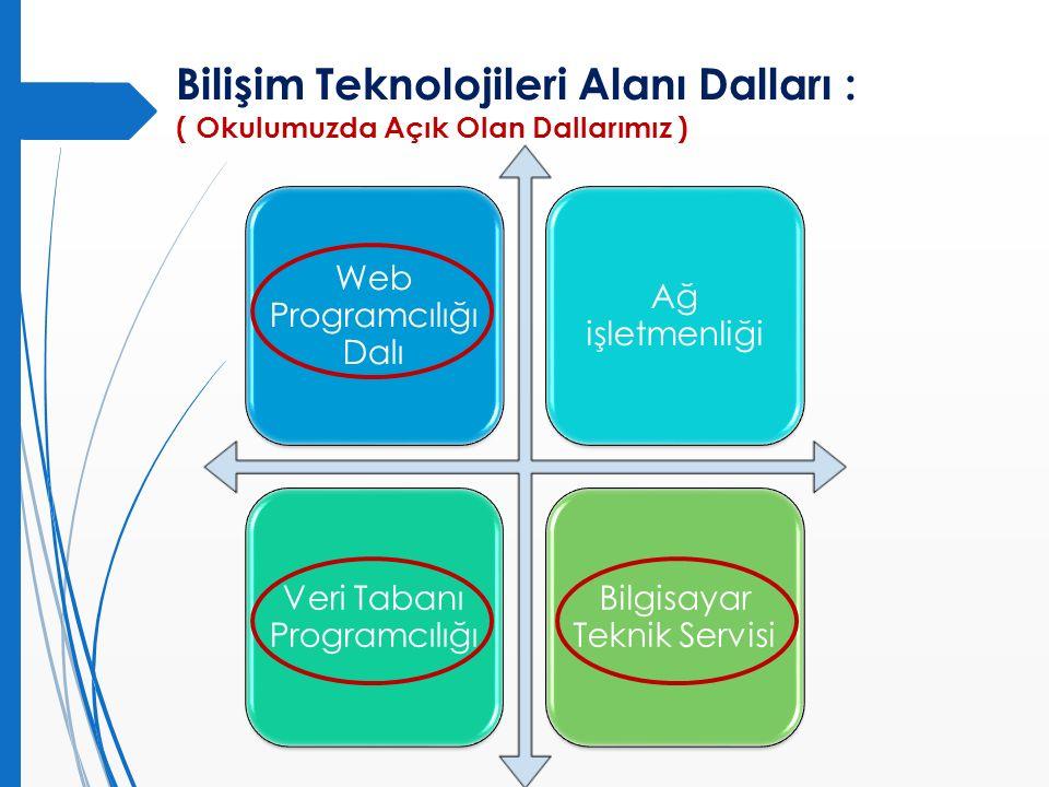 Bilişim Teknolojileri Alanı Dalları : ( Okulumuzda Açık Olan Dallarımız ) Web Programcılığı Dalı Ağ işletmenliği Veri Tabanı Programcılığı Bilgisayar