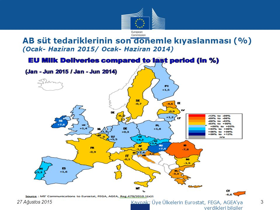 327 Ağustos 2015 Kaynak: Üye Ülkelerin Eurostat, FEGA, AGEA'ya verdikleri bilgiler AB süt tedariklerinin son dönemle kıyaslanması (%) (Ocak- Haziran 2015/ Ocak- Haziran 2014)