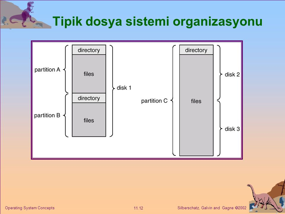 Silberschatz, Galvin and Gagne  2002 11.12 Operating System Concepts Tipik dosya sistemi organizasyonu