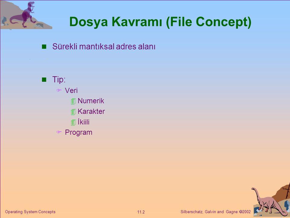 Silberschatz, Galvin and Gagne  2002 11.2 Operating System Concepts Dosya Kavramı (File Concept) Sürekli mantıksal adres alanı Tip:  Veri  Numerik