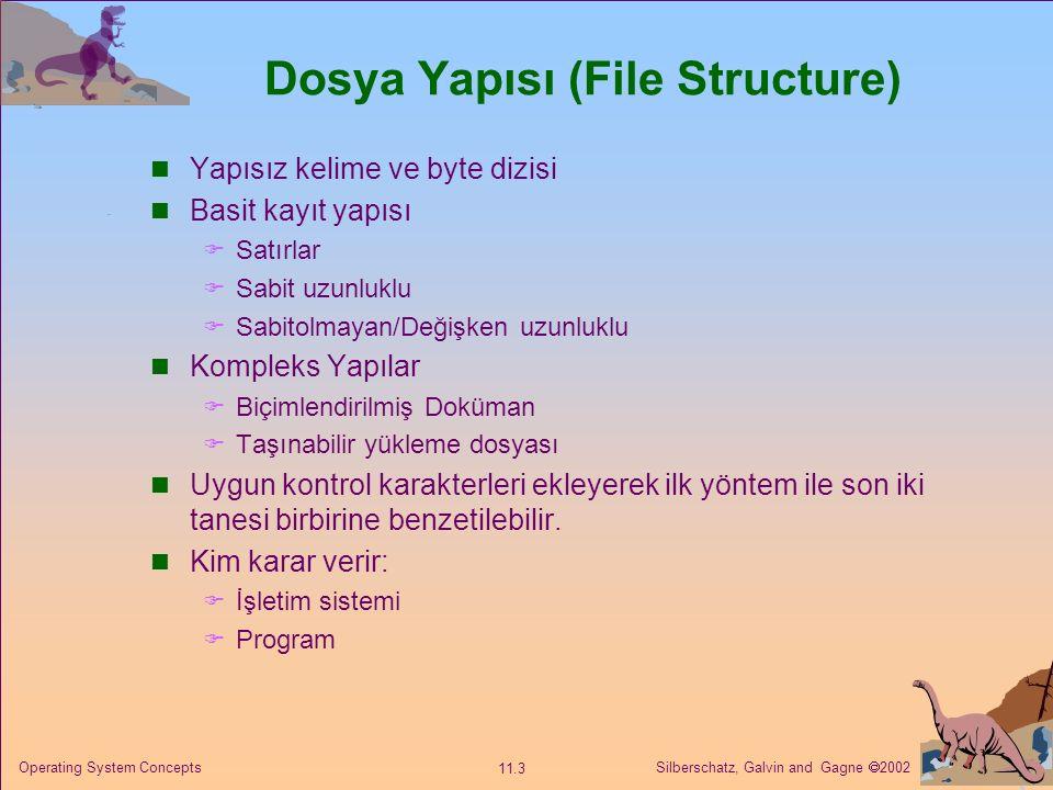 Silberschatz, Galvin and Gagne  2002 11.3 Operating System Concepts Dosya Yapısı (File Structure) Yapısız kelime ve byte dizisi Basit kayıt yapısı 