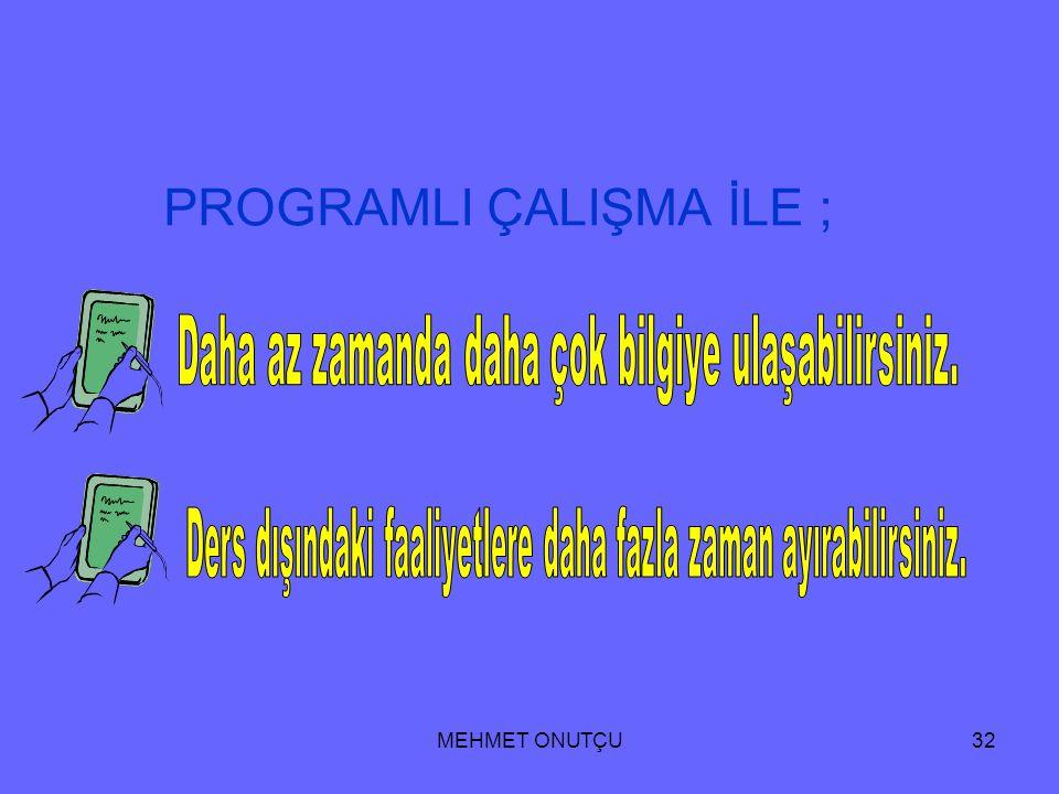 MEHMET ONUTÇU31 6. Hazırlanan program zorunluluktan değil bir amaç için isteyerek uygulanmalıdır. 7. Programın içeriği öncelikle konu tekrarına çoğunl