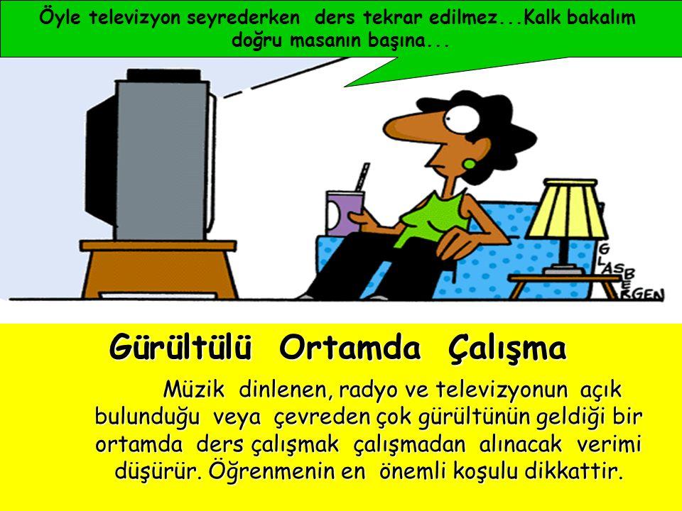 MEHMET ONUTÇU37 Çalışma ortamında dikkati dağıtacak radyo, teyp, tv, resim, poster, afiş olmamalıdır. Çalışma ortamında dikkati dağıtacak radyo, teyp,