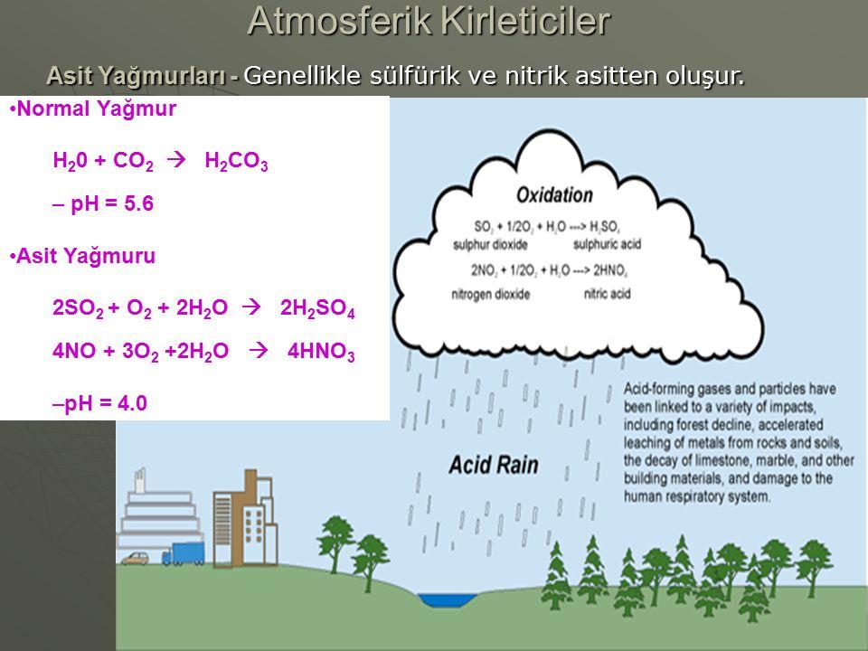 Atmosferik Kirleticiler Asit Yağmurları - Genellikle sülfürik ve nitrik asitten oluşur. Normal Yağmur H 2 0 + CO 2  H 2 CO 3 – pH = 5.6 Asit Yağmuru