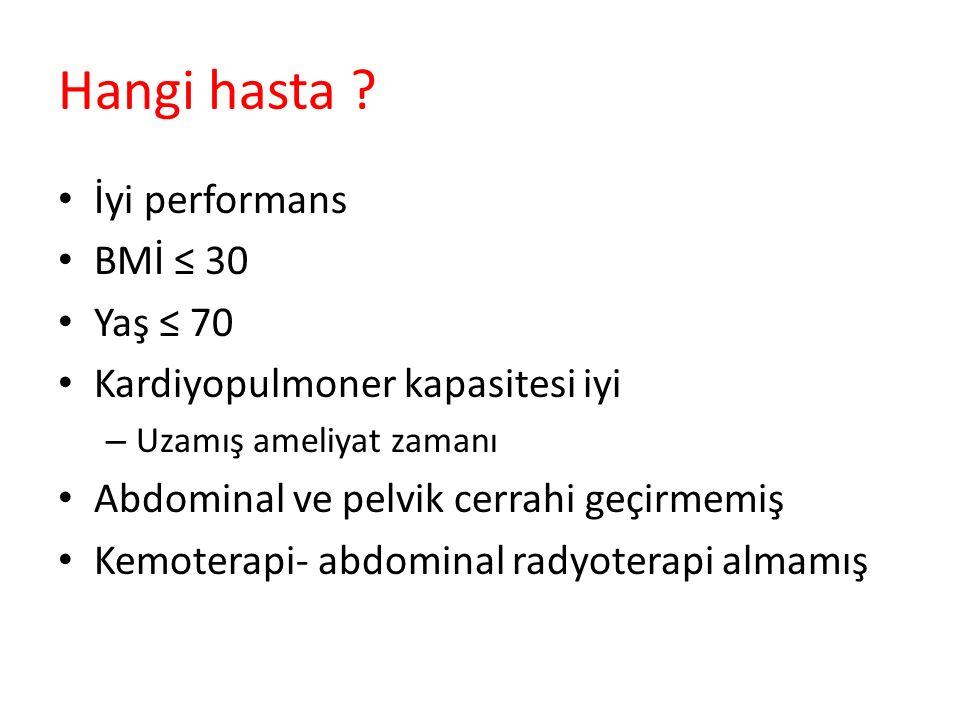 Hangi hasta ? İyi performans BMİ ≤ 30 Yaş ≤ 70 Kardiyopulmoner kapasitesi iyi – Uzamış ameliyat zamanı Abdominal ve pelvik cerrahi geçirmemiş Kemotera