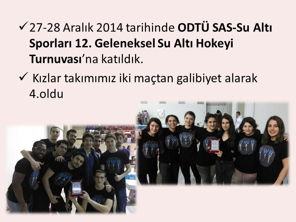 27-28 Aralık 2014 tarihinde ODTÜ SAS-Su Altı Sporları 12. Geleneksel Su Altı Hokeyi Turnuvası'na katıldık. Kızlar takımımız iki maçtan galibiyet alara