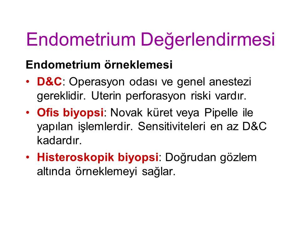 Endometrium Değerlendirmesi Endometrium örneklemesi D&C: Operasyon odası ve genel anestezi gereklidir.
