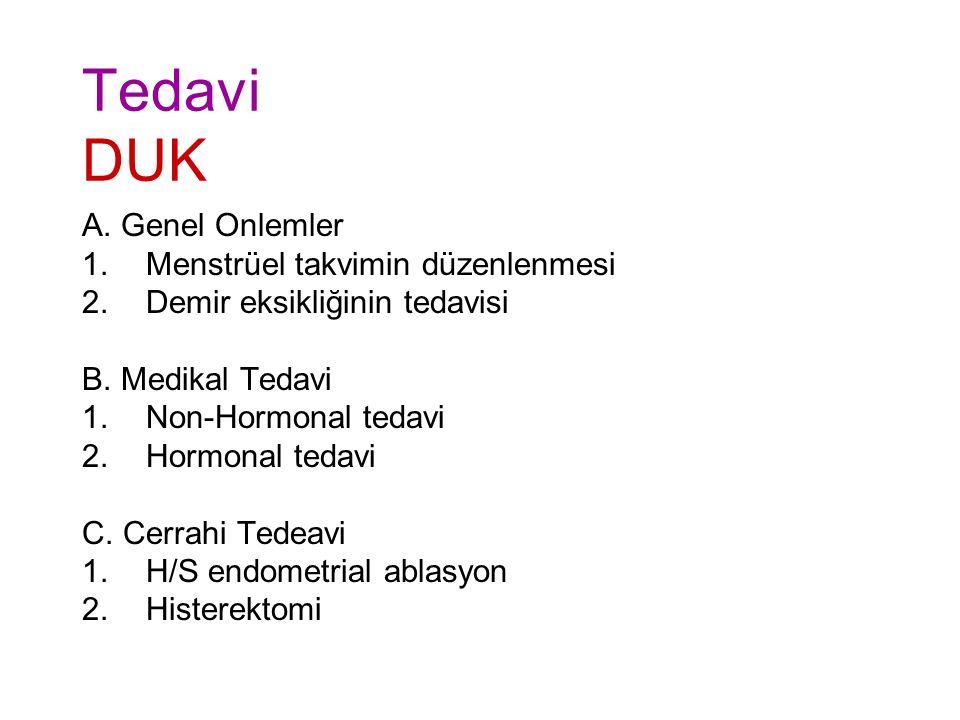 Tedavi DUK A.Genel Onlemler 1.Menstrüel takvimin düzenlenmesi 2.Demir eksikliğinin tedavisi B.