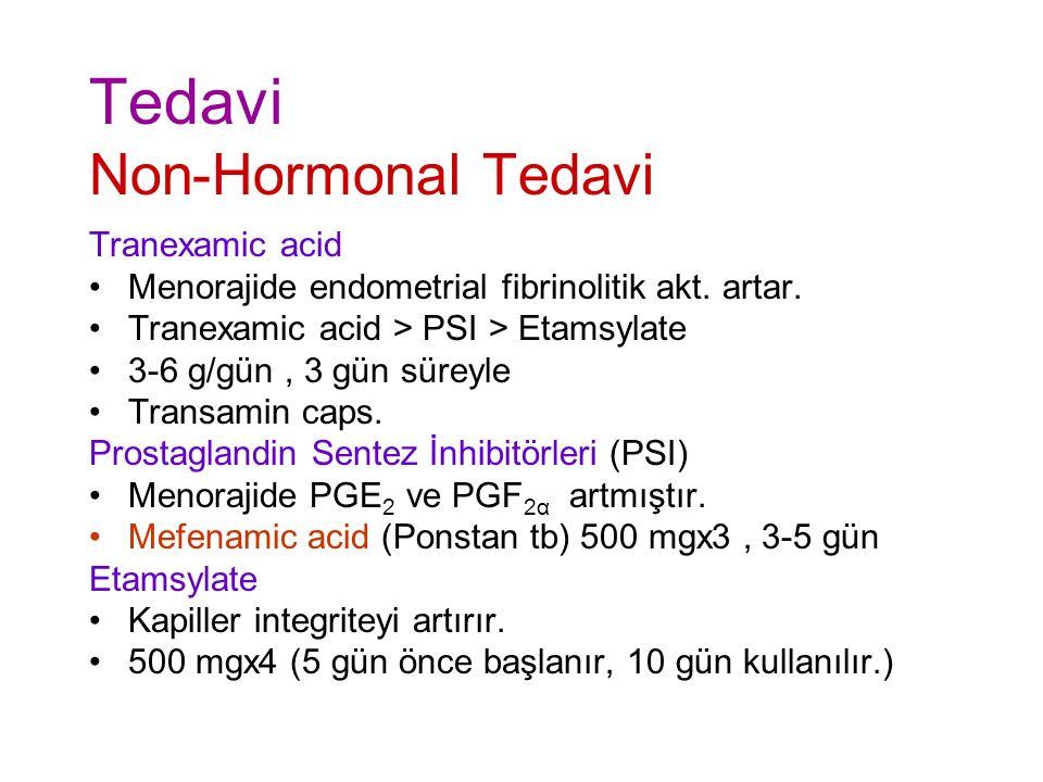 Tedavi Non-Hormonal Tedavi Tranexamic acid Menorajide endometrial fibrinolitik akt.