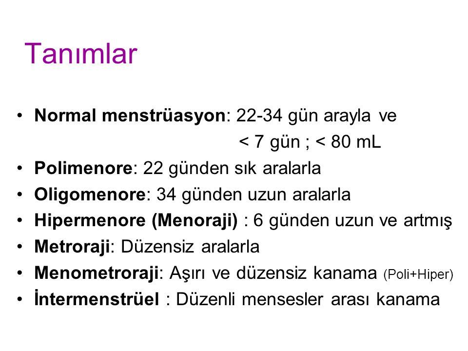 Tanımlar Normal menstrüasyon: 22-34 gün arayla ve < 7 gün ; < 80 mL Polimenore: 22 günden sık aralarla Oligomenore: 34 günden uzun aralarla Hipermenore (Menoraji) : 6 günden uzun ve artmış Metroraji: Düzensiz aralarla Menometroraji: Aşırı ve düzensiz kanama (Poli+Hiper) İntermenstrüel : Düzenli mensesler arası kanama