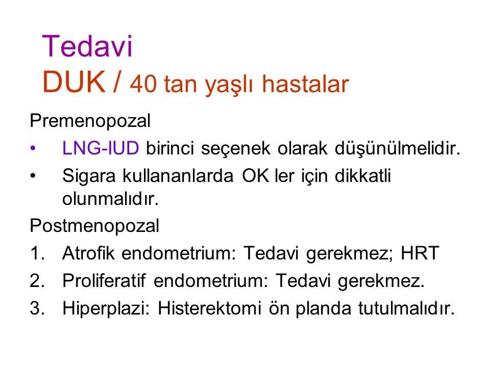 Tedavi DUK / 40 tan yaşlı hastalar Premenopozal LNG-IUD birinci seçenek olarak düşünülmelidir.