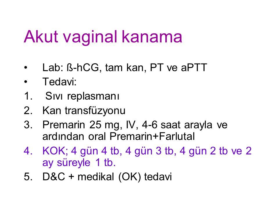 Akut vaginal kanama Lab: ß-hCG, tam kan, PT ve aPTT Tedavi: 1.