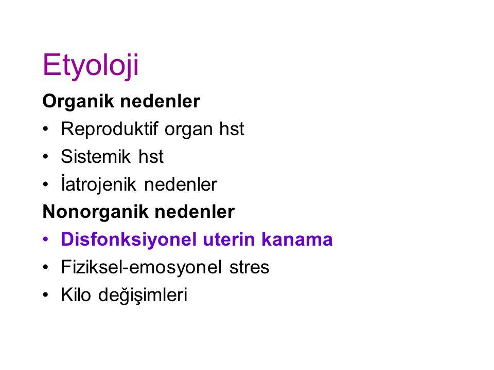 Etyoloji Organik nedenler Reproduktif organ hst Sistemik hst İatrojenik nedenler Nonorganik nedenler Disfonksiyonel uterin kanama Fiziksel-emosyonel stres Kilo değişimleri