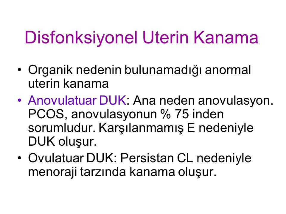 Disfonksiyonel Uterin Kanama Organik nedenin bulunamadığı anormal uterin kanama Anovulatuar DUK: Ana neden anovulasyon.