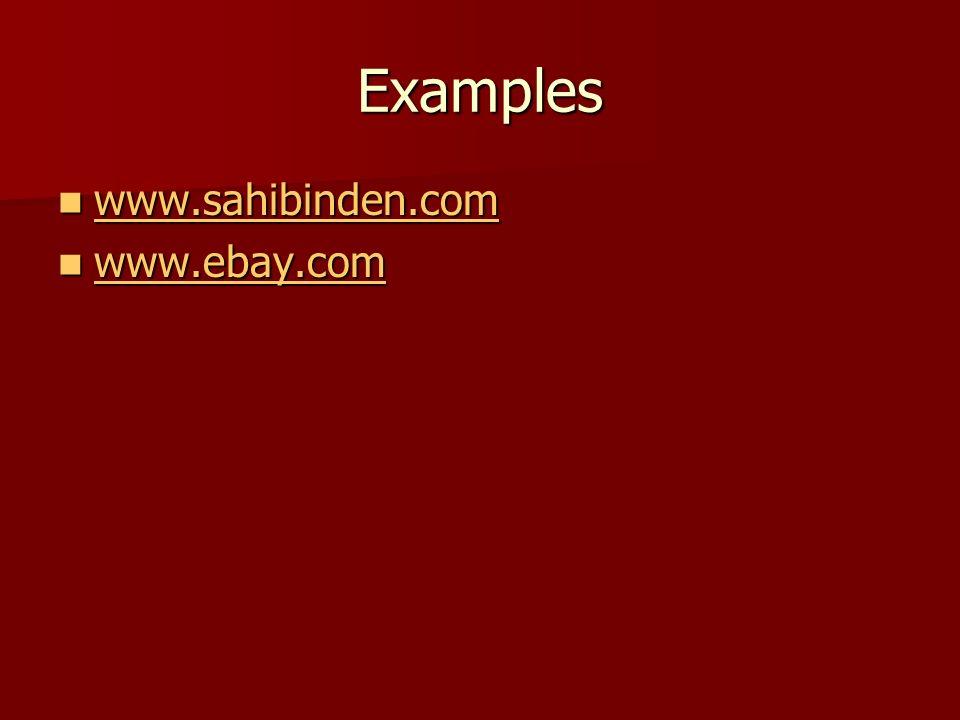 Examples www.sahibinden.com www.sahibinden.com www.sahibinden.com www.ebay.com www.ebay.com www.ebay.com