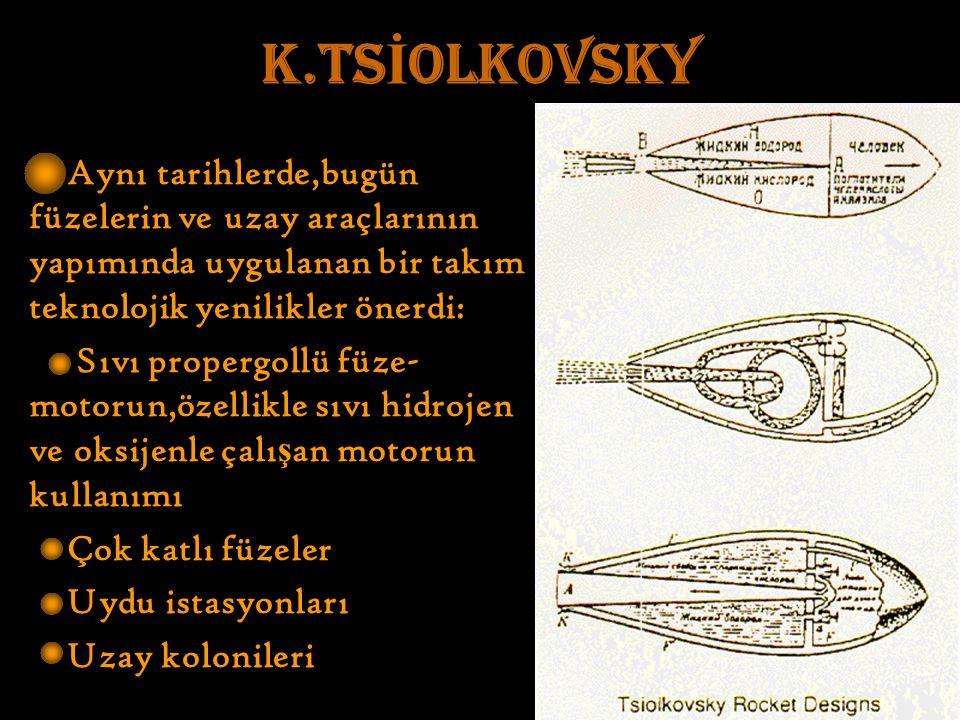 K.TS İ OLKOVSKY Aynı tarihlerde,bugün füzelerin ve uzay araçlarının yapımında uygulanan bir takım teknolojik yenilikler önerdi: Sıvı propergollü füze- motorun,özellikle sıvı hidrojen ve oksijenle çalı ş an motorun kullanımı Çok katlı füzeler Uydu istasyonları Uzay kolonileri