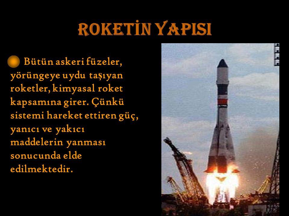 ROKET İ N YAPISI Bütün askeri füzeler, yörüngeye uydu ta ş ıyan roketler, kimyasal roket kapsamına girer.
