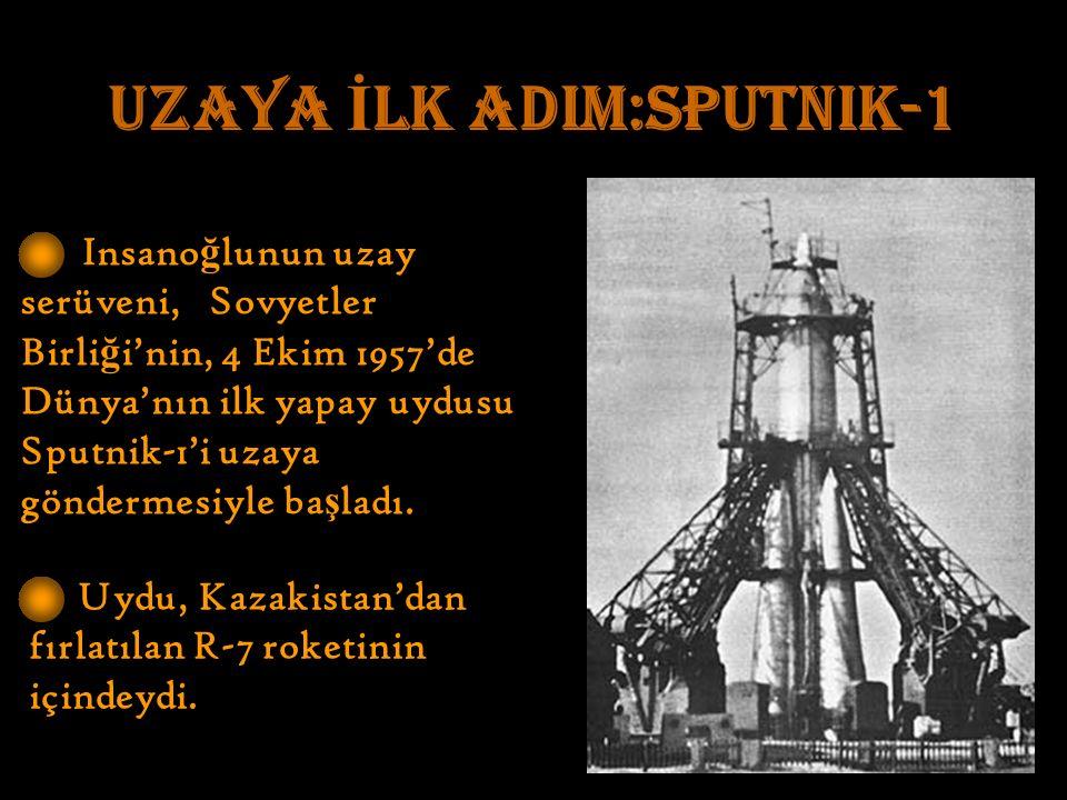 UZAYA İ LK ADIM:Sputnik-1 Insano ğ lunun uzay serüveni, Sovyetler Birli ğ i'nin, 4 Ekim 1957'de Dünya'nın ilk yapay uydusu Sputnik-1'i uzaya göndermesiyle ba ş ladı.