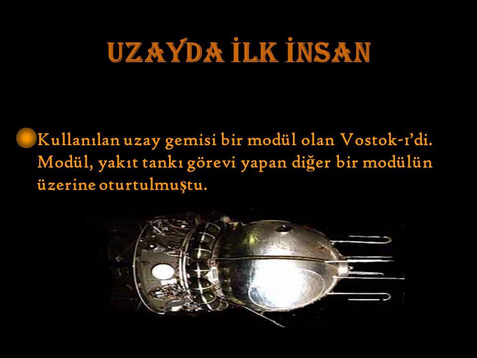 UZAYDA İ LK İ NSAN Kullanılan uzay gemisi bir modül olan Vostok-1'di.