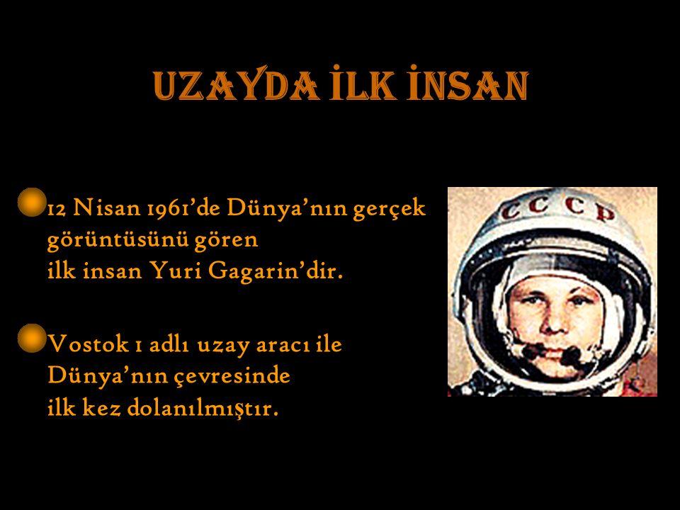 UZAYDA İ LK İ NSAN 12 Nisan 1961'de Dünya'nın gerçek görüntüsünü gören ilk insan Yuri Gagarin'dir.