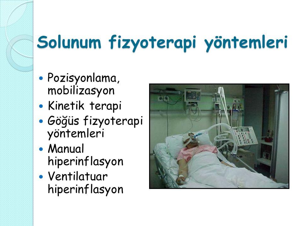 Solunum fizyoterapi yöntemleri Pozisyonlama, mobilizasyon Kinetik terapi Göğüs fizyoterapi yöntemleri Manual hiperinflasyon Ventilatuar hiperinflasyon