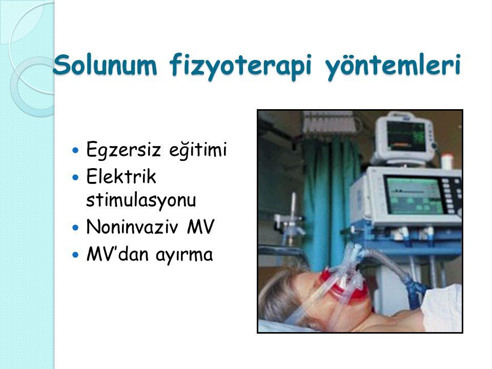 Solunum fizyoterapi yöntemleri Egzersiz eğitimi Elektrik stimulasyonu Noninvaziv MV MV'dan ayırma