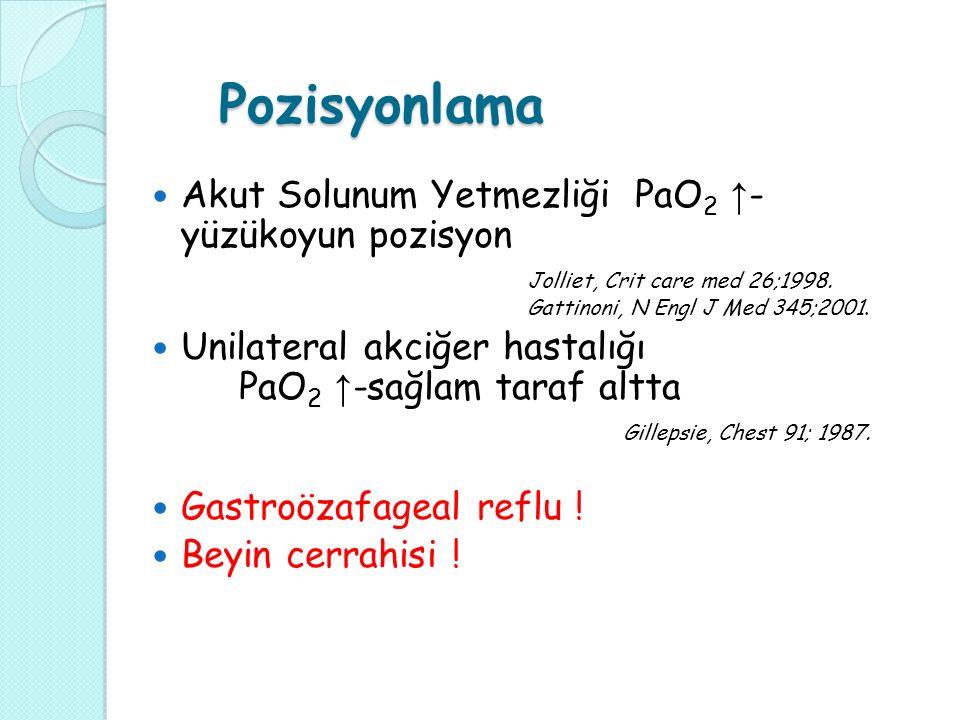 Pozisyonlama Akut Solunum Yetmezliği PaO 2 ↑ - yüzükoyun pozisyon Jolliet, Crit care med 26;1998.