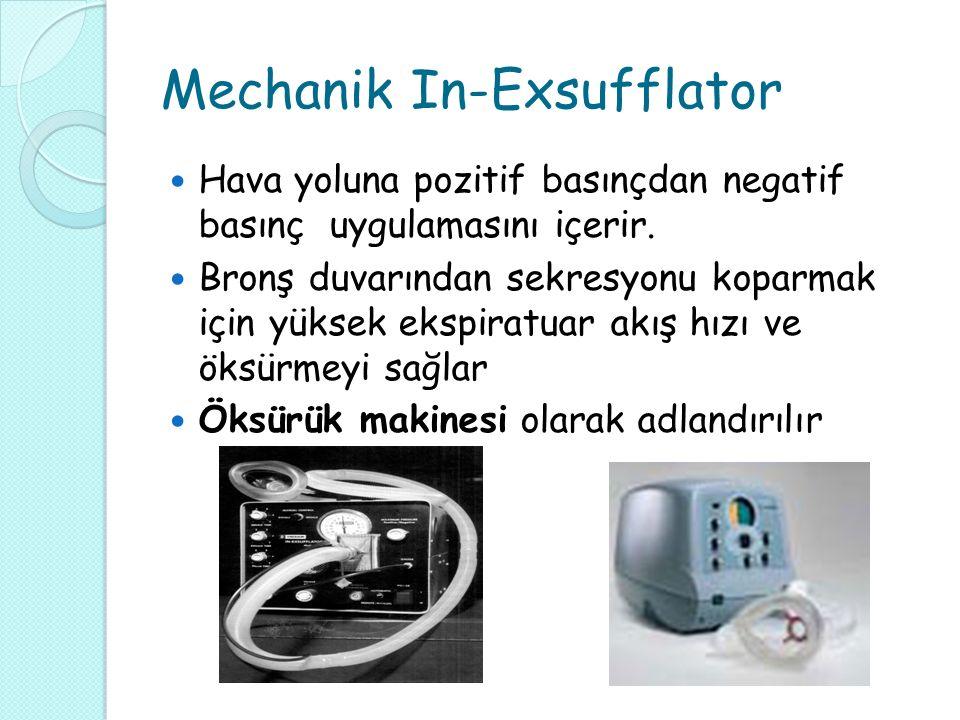 Mechanik In-Exsufflator Hava yoluna pozitif basınçdan negatif basınç uygulamasını içerir.