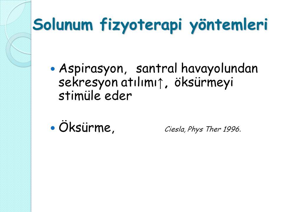 Solunum fizyoterapi yöntemleri Aspirasyon, santral havayolundan sekresyon atılımı ↑, öksürmeyi stimüle eder Öksürme, Ciesla, Phys Ther 1996.