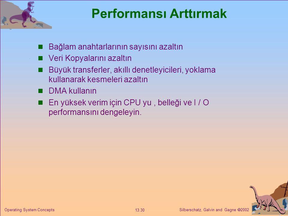 Silberschatz, Galvin and Gagne  2002 13.30 Operating System Concepts Performansı Arttırmak Bağlam anahtarlarının sayısını azaltın Veri Kopyalarını azaltın Büyük transferler, akıllı denetleyicileri, yoklama kullanarak kesmeleri azaltın DMA kullanın En yüksek verim için CPU yu, belleği ve I / O performansını dengeleyin.
