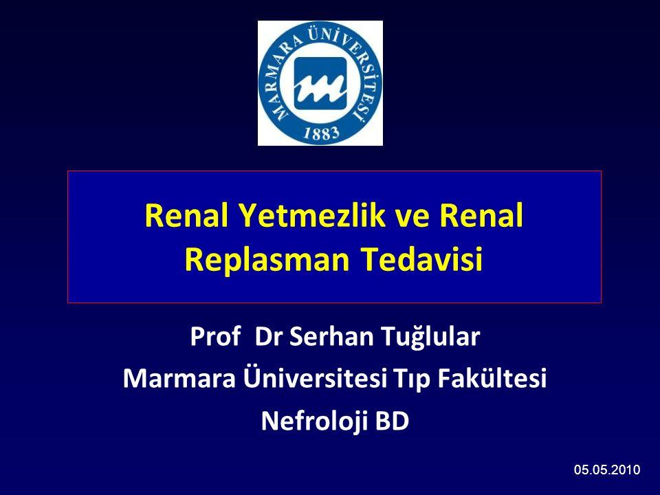 Renal Yetmezlik ve Renal Replasman Tedavisi Prof Dr Serhan Tuğlular Marmara Üniversitesi Tıp Fakültesi Nefroloji BD 05.05.2010