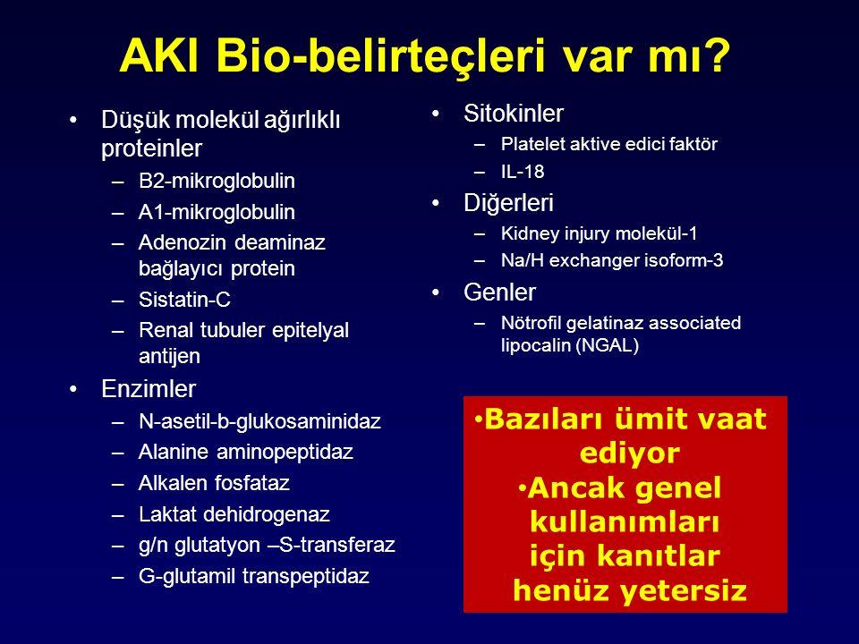 AKI Bio-belirteçleri var mı? Düşük molekül ağırlıklı proteinler –B2-mikroglobulin –A1-mikroglobulin –Adenozin deaminaz bağlayıcı protein –Sistatin-C –