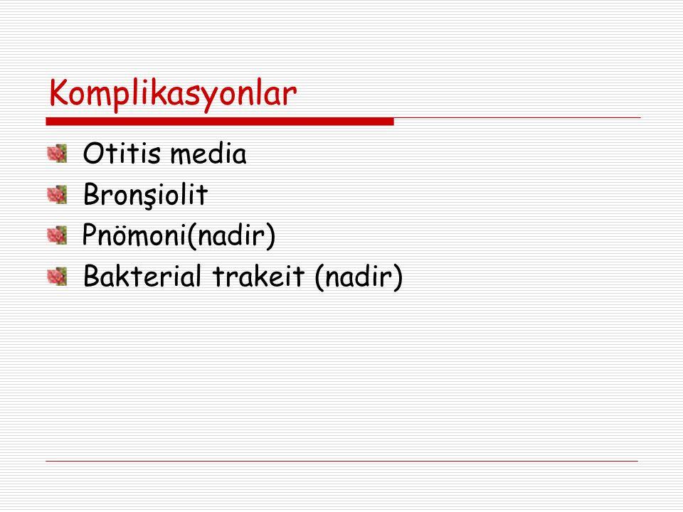Komplikasyonlar Otitis media Bronşiolit Pnömoni(nadir) Bakterial trakeit (nadir)