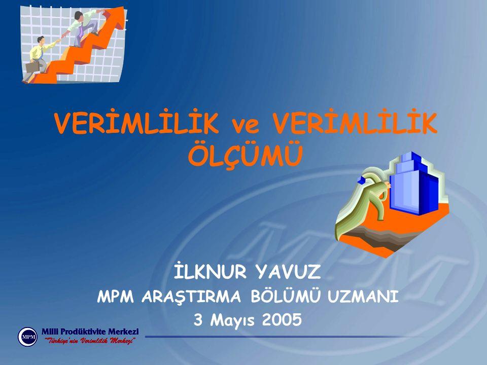 İLKNUR YAVUZ MPM ARAŞTIRMA BÖLÜMÜ UZMANI 3 Mayıs 2005 VERİMLİLİK ve VERİMLİLİK ÖLÇÜMÜ