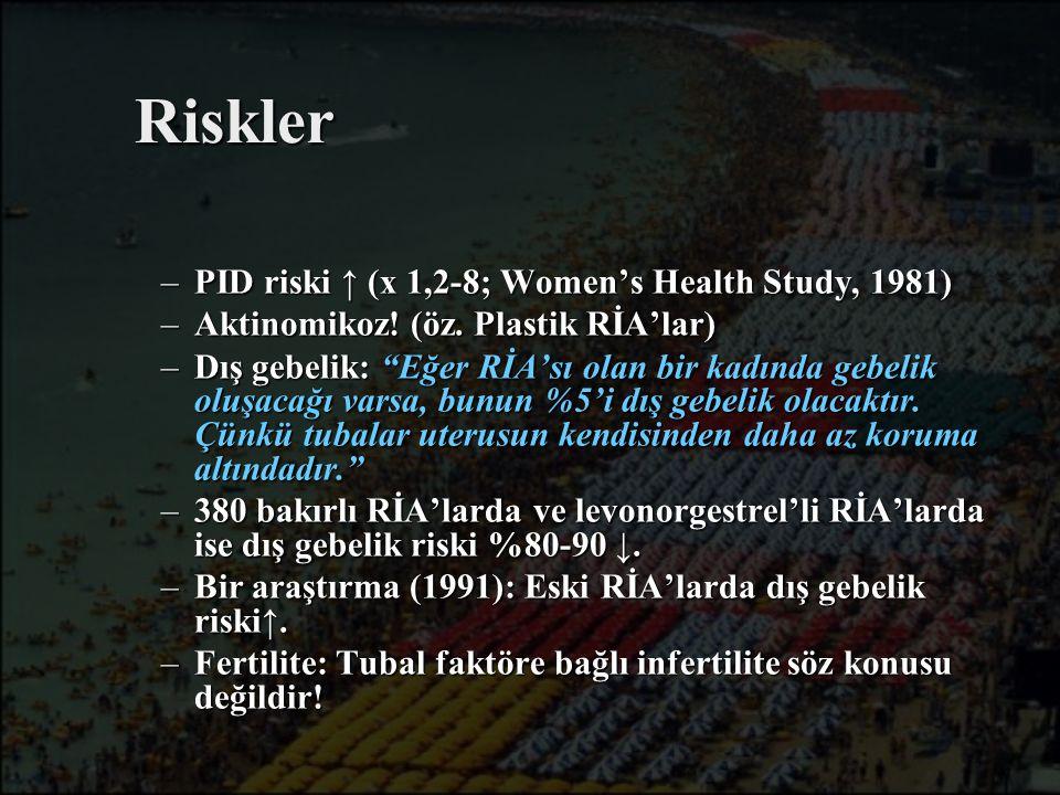 """Riskler –PID riski ↑ (x 1,2-8; Women's Health Study, 1981) –Aktinomikoz! (öz. Plastik RİA'lar) –Dış gebelik: """"Eğer RİA'sı olan bir kadında gebelik olu"""