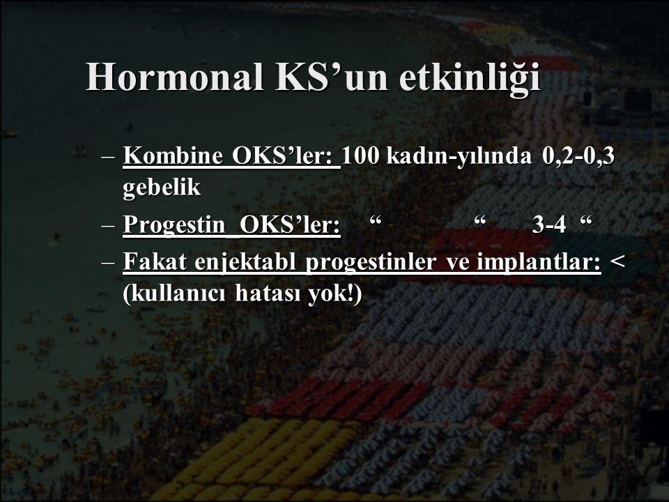 """Hormonal KS'un etkinliği –Kombine OKS'ler: 100 kadın-yılında 0,2-0,3 gebelik –Progestin_OKS'ler: """" """" 3-4 """" –Fakat enjektabl progestinler ve implantlar"""