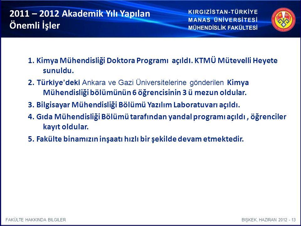 BIŞKEK, HAZIRAN 2012 - 13FAKÜLTE HAKKINDA BILGILER 2011 – 2012 Akademik Yılı Yapılan Önemli İşler 1.