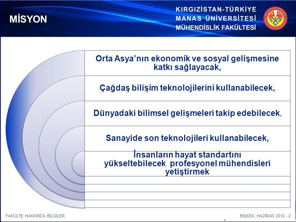 BIŞKEK, HAZIRAN 2012 - 2FAKÜLTE HAKKINDA BILGILER Orta Asya'nın ekonomik ve sosyal gelişmesine katkı sağlayacak, Çağdaş bilişim teknolojilerini kullanabilecek, Dünyadaki bilimsel gelişmeleri takip edebilecek, Sanayide son teknolojileri kullanabilecek, İnsanların hayat standartını yükseltebilecek profesyonel mühendisleri yetiştirmek MİSYON