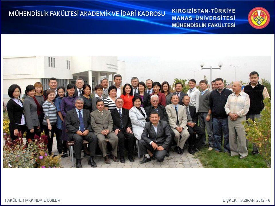 BIŞKEK, HAZIRAN 2012 - 6FAKÜLTE HAKKINDA BILGILER MÜHENDİSLİK FAKÜLTESİ AKADEMİK VE İDARİ KADROSU