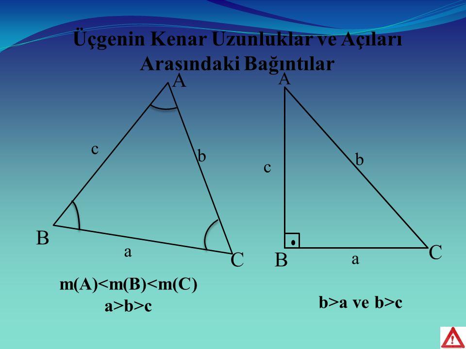 Üçgenin Kenar Uzunluklar ve Açıları Arasındaki Bağıntılar A B C A B C a b c m(A)<m(B)<m(C) a>b>c b a c b>a ve b>c