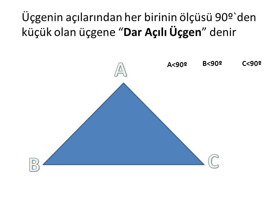 Üçgenin açılarından her birinin ölçüsü 90º`den küçük olan üçgene Dar Açılı Üçgen denir A<90º B<90ºC<90º