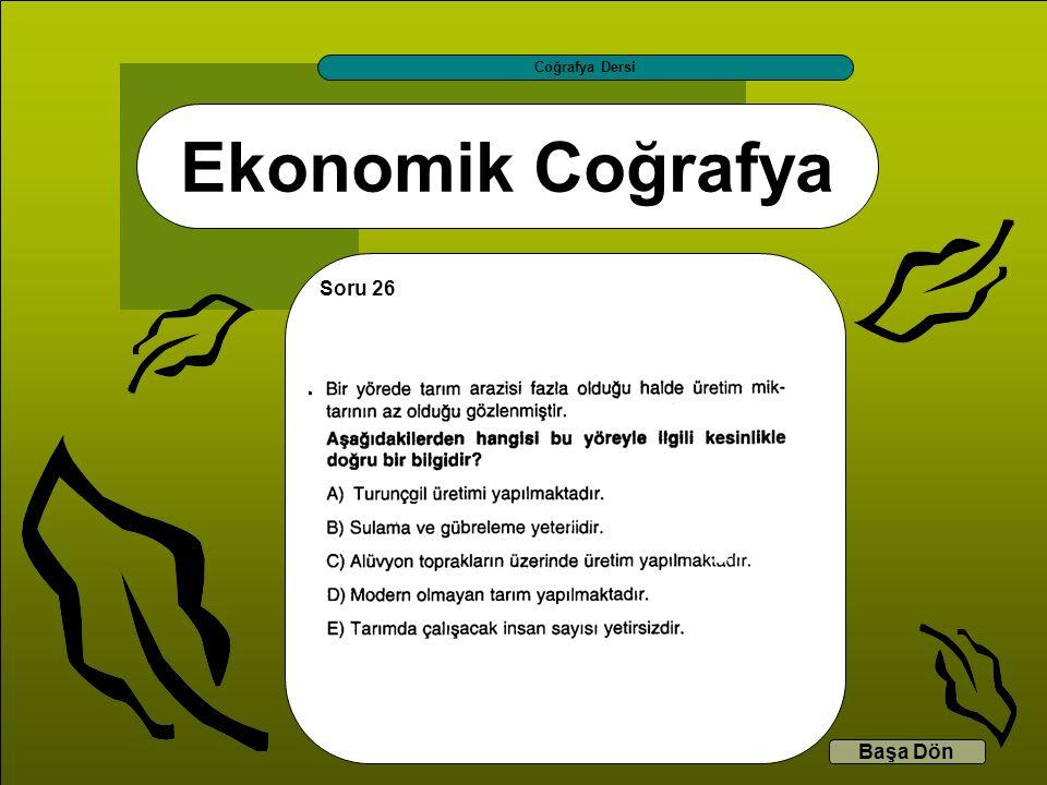 Ekonomik Coğrafya Coğrafya Dersi Başa Dön Soru 26