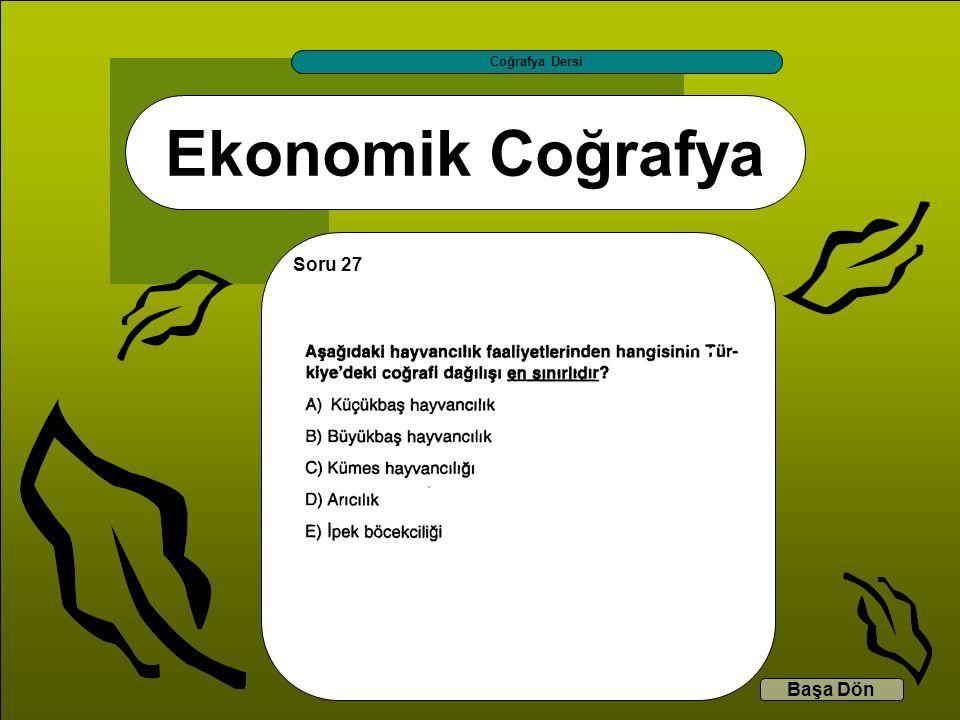 Ekonomik Coğrafya Coğrafya Dersi Başa Dön Soru 27