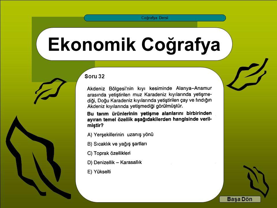 Ekonomik Coğrafya Coğrafya Dersi Başa Dön Soru 32