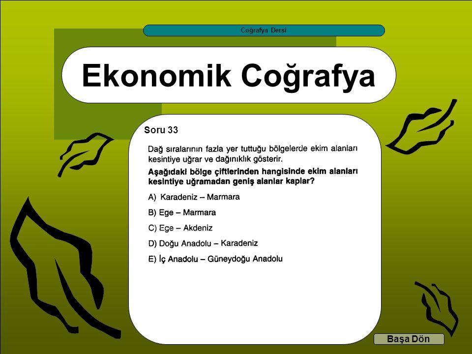 Ekonomik Coğrafya Coğrafya Dersi Başa Dön Soru 33